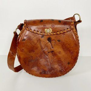 Vintage Handmade Tooled Leather Circular